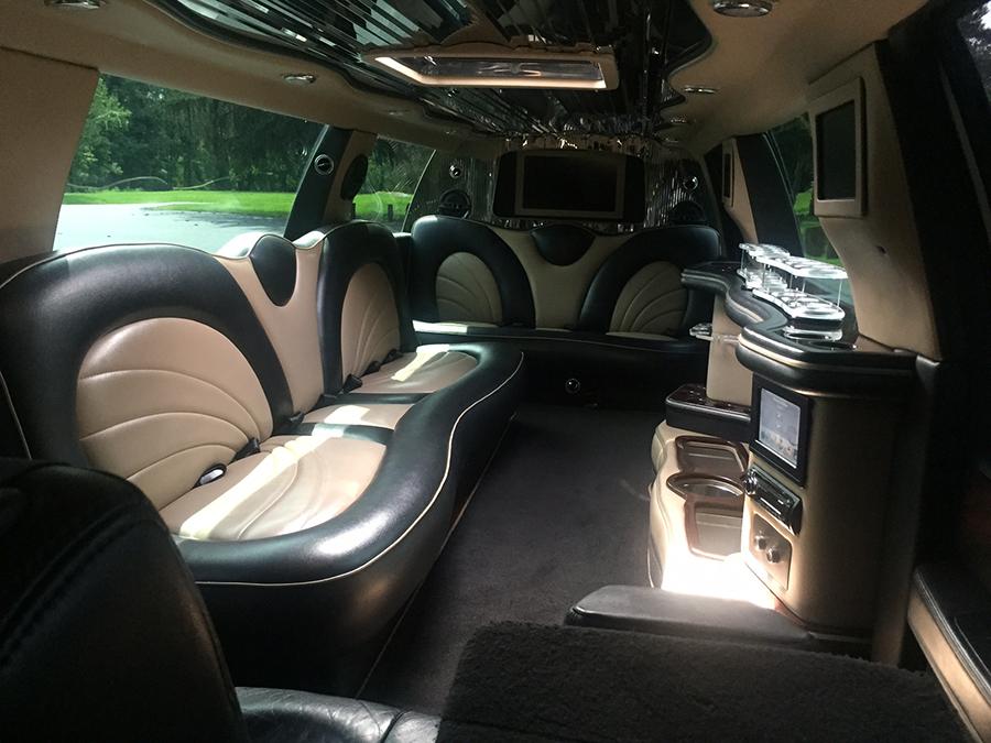 White Stretch Lincoln Navigator Inside