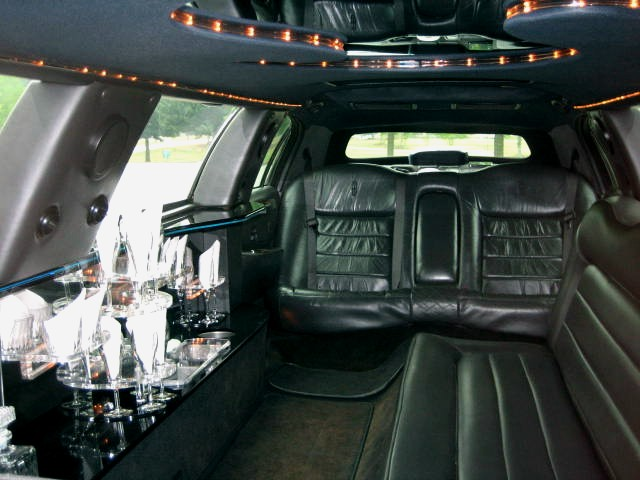 Black Stretch Lincoln Town Car Interior